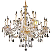 Elegant Lighting Alexandria 15 Light Foyer in Gold with Swarovski Strass Clear Crystal 7831G35G/SS