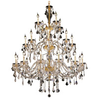Elegant Lighting Alexandria 24 Light Foyer in Gold with Swarovski Strass Clear Crystal 7831G45G/SS