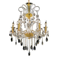 Elegant Lighting Elizabeth 6 Light Dining Chandelier in Gold with Swarovski Strass Clear Crystal 7832D26G/SS