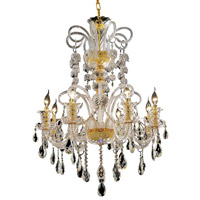 Elegant Lighting Elizabeth 8 Light Dining Chandelier in Gold with Swarovski Strass Clear Crystal 7832D29G/SS