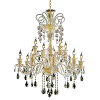Elegant Lighting Elizabeth 12 Light Foyer in Gold with Swarovski Strass Clear Crystal 7832G33G/SS