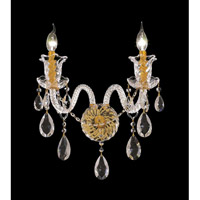 Elegant Lighting Elizabeth 2 Light Wall Sconce in Gold with Elegant Cut Clear Crystal 7832W2G/EC