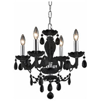 Elegant Lighting Princeton 4 Light Chandelier in Black with Royal Cut Clear Crystals 7834D17B/RC photo thumbnail