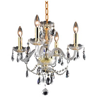 Elegant Lighting Princeton 4 Light Pendant in Gold with Royal Cut Clear Crystal 7834D17G/RC