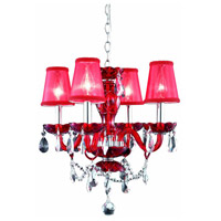 Princeton 4 Light 17 inch Red Pendant Ceiling Light in Clear, Red Shade