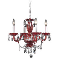 Elegant Lighting Princeton 4 Light Pendant in Red with Royal Cut Bordeaux Crystal 7834D17RD/RC