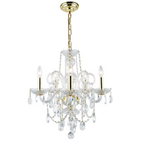 Elegant Lighting Princeton 5 Light Dining Chandelier in Gold with Royal Cut Clear Crystal 7835D20G/RC - Open Box