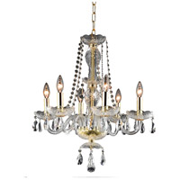 Elegant Lighting Princeton 6 Light Dining Chandelier in Gold with Royal Cut Clear Crystal 7836D20G/RC