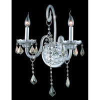 Elegant Lighting Verona 2 Light Wall Sconce in Chrome with Swarovski Strass Golden Teak Crystal 7852W2C-GT/SS