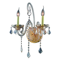 Elegant Lighting Verona 2 Light Wall Sconce in Golden Shadow with Swarovski Strass Golden Shadow Crystal 7852W2GS-GS/SS