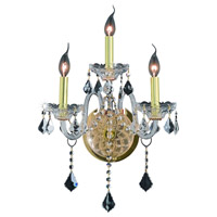 Elegant Lighting Verona 3 Light Wall Sconce in Gold with Elegant Cut Clear Crystal 7853W3G/EC