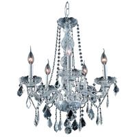 Elegant Lighting Verona 5 Light Dining Chandelier in Chrome with Elegant Cut Clear Crystal 7855D21C/EC