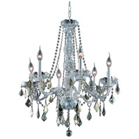 Verona 6 Light 24 inch Chrome Dining Chandelier Ceiling Light in Golden Teak, Swarovski Strass