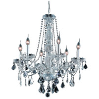 Elegant Lighting Verona 6 Light Dining Chandelier in Chrome with Swarovski Strass Clear Crystal 7856D24C/SS