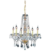 Elegant Lighting Verona 6 Light Dining Chandelier in Gold with Swarovski Strass Clear Crystal 7856D24G/SS