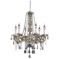 Elegant Lighting Verona 6 Light Dining Chandelier in Golden Teak with Royal Cut Golden Teak Crystal 7856D24GT-GT/RC