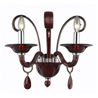 Elegant Lighting Muse 2 Light Wall Sconce in Red with Royal Cut Bordeaux Crystal 7862W2RD/RC