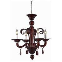Elegant Lighting Muse 4 Light Dining Chandelier in Red with Royal Cut Bordeaux Crystal 7864D22RD/RC