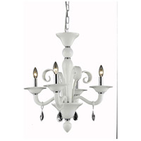Elegant Lighting Muse 4 Light Dining Chandelier in White with Swarovski Strass Clear Crystal 7864D22WH/SS