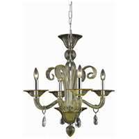 Elegant Lighting Muse 4 Light Dining Chandelier in Yellow with Royal Cut Golden Shadow Crystal 7864D22YW/RC