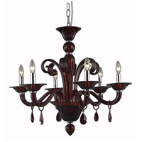 Elegant Lighting Muse 6 Light Dining Chandelier in Red with Royal Cut Bordeaux Crystal 7866D29RD/RC