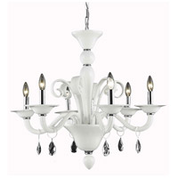 Elegant Lighting Muse 6 Light Dining Chandelier in White with Swarovski Strass Clear Crystal 7866D29WH/SS