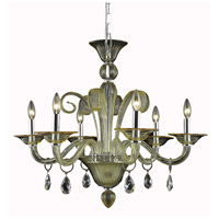 Elegant Lighting 7866D29YW/RC Muse 6 Light 29 inch Yellow Dining Chandelier Ceiling Light in Golden Shadow Royal Cut