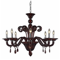 Elegant Lighting Muse 8 Light Dining Chandelier in Red with Swarovski Strass Bordeaux Crystal 7868D36RD/SS
