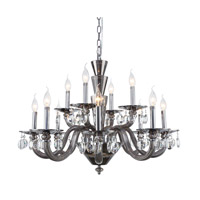 Elegant Lighting 7870D32SS/RC Augusta 12 Light 32 inch Silver Shade Chandelier Ceiling Light Urban Classic