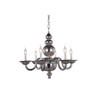 Elegant Lighting 7872D27SS Champlain 6 Light 27 inch Silver Shade Pendant Ceiling Light