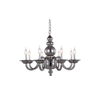 Elegant Lighting 7872D30SS Champlain 8 Light 30 inch Silver Shade Pendant Ceiling Light