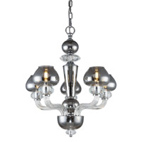 Elegant Lighting 7874D22SS Prescott 5 Light 22 inch Silver Shade Chandelier Ceiling Light Urban Classic