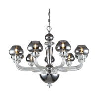 Elegant Lighting 7874D33SS Prescott 9 Light 33 inch Silver Shade Chandelier Ceiling Light Urban Classic