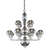 Elegant Lighting 7874G34SS Prescott 12 Light 33 inch Silver Shade Chandelier Ceiling Light Urban Classic