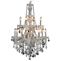 Elegant Lighting Giselle 12 Light Dining Chandelier in Chrome with Royal Cut Clear Crystal 7890D28C/RC