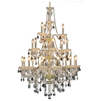 Elegant Lighting V7890G38G/RC Giselle 21 Light 38 inch Gold Foyer Ceiling Light