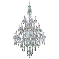 Elegant Lighting Verona 25 Light Foyer in Chrome with Swarovski Strass Golden Teak Crystal 7925G43C-GT/SS