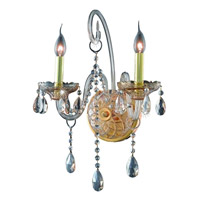 Elegant Lighting Verona 2 Light Wall Sconce in Golden Shadow with Royal Cut Golden Shadow Crystal 7952W2GS-GS/RC