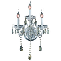 Elegant Lighting Verona 3 Light Wall Sconce in Chrome with Royal Cut Golden Teak Crystal 7953W3C-GT/RC