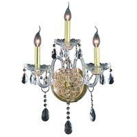 Elegant Lighting Verona 3 Light Wall Sconce in Gold with Swarovski Strass Clear Crystal 7953W3G/SS