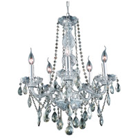 Verona 5 Light 21 inch Chrome Dining Chandelier Ceiling Light in Golden Teak, Swarovski Strass