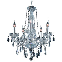 Elegant Lighting Verona 5 Light Dining Chandelier in Chrome with Elegant Cut Clear Crystal 7955D21C/EC