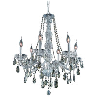 Elegant Lighting Verona 6 Light Dining Chandelier in Chrome with Swarovski Strass Golden Teak Crystal 7956D24C-GT/SS