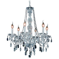 Elegant Lighting Verona 6 Light Dining Chandelier in Chrome with Swarovski Strass Clear Crystal 7956D24C/SS