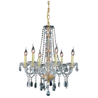 Elegant Lighting Verona 6 Light Dining Chandelier in Gold with Swarovski Strass Clear Crystal 7956D24G/SS