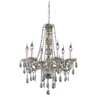 Elegant Lighting Verona 6 Light Dining Chandelier in Golden Teak with Royal Cut Golden Teak Crystal 7956D24GT-GT/RC