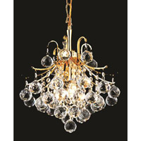 Elegant Lighting Toureg 3 Light Pendant in Gold with Royal Cut Clear Crystal 8000D12G/RC