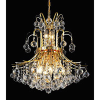 Elegant Lighting Toureg 10 Light Dining Chandelier in Gold with Swarovski Strass Clear Crystal 8001D19G/SS