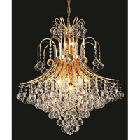 Elegant Lighting Toureg 15 Light Dining Chandelier in Gold with Swarovski Strass Clear Crystal 8003D25G/SS