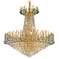 Elegant Lighting Victoria 11 Light Dining Chandelier in Gold with Swarovski Strass Clear Crystal 8031D24G/SS